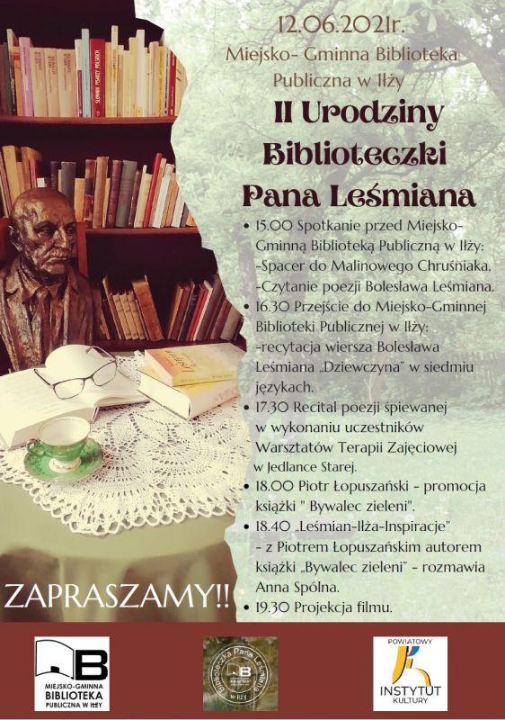 Plakat II Urodziny Biblioteczki Pana Leśmiana
