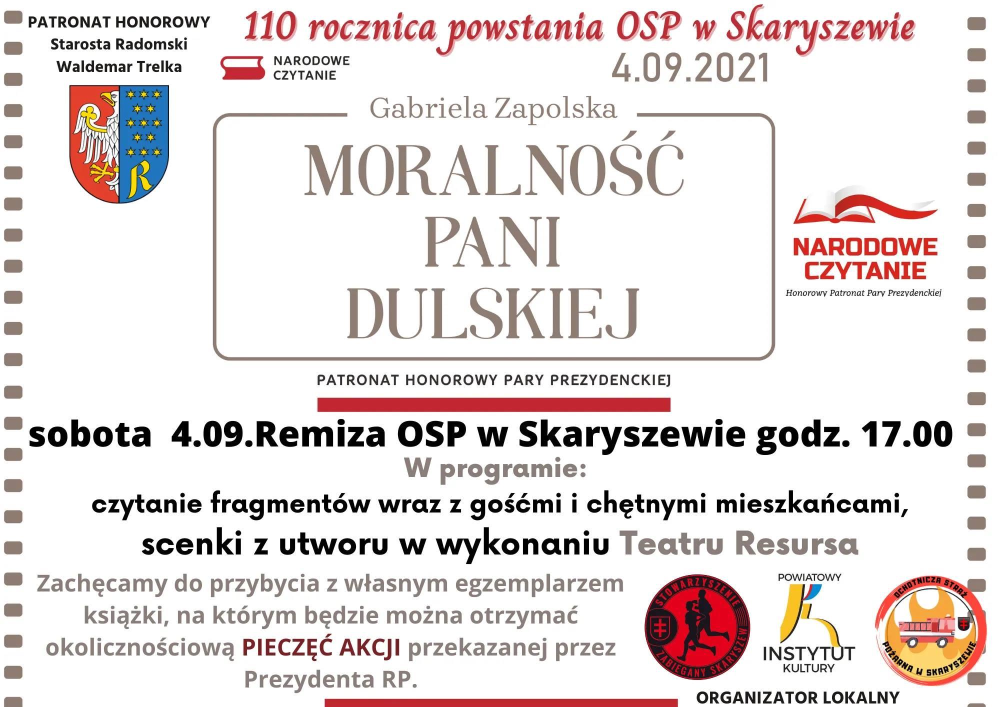 plakat - Narodowe czytanie w Skaryszewie